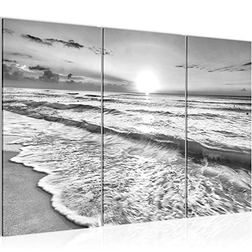 Runa Art Puesta De Sol Playa Cuadro Murales Sala XXL Negro Blanco Panorama 120 x 80 cm 3 Piezas Decoración de Pared 023731c