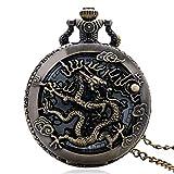 J-Love Vintage Uhr Halskette Zodiac Dragon Hollow Uhren Frauen Männer Quarz Libelle Taschenuhr Halskette Anhänger Geschenke