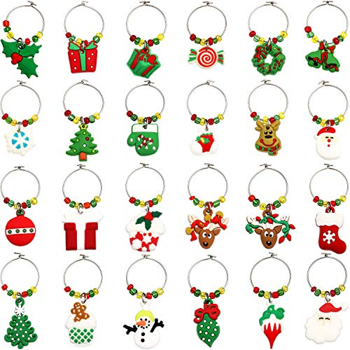 WILLBOND 24 Pieces Christmas Goblet Drink Markers Wine Glass Charms Drink Tags Wine Glass Tags with Simple Buckle Design for Party Favors Family Gathering