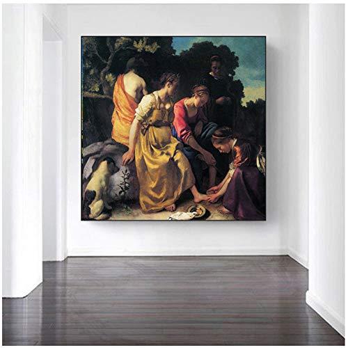 chtshjdtb Diana und ihre Begleiter Mode Leinwand Gemälde von Vermeer Leinwand Gemälde Wohnzimmer Wandkunst Dekoration Gemälde -60x60cm No Frame
