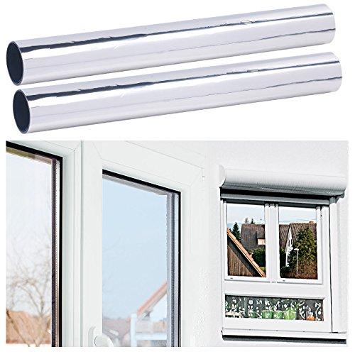 infactory UV Folie: 2er-Set Selbsthaftende Isolier-Spiegelfolie, Sicht-/UV-Schutz, 40 cm (UV Schutzfolie)