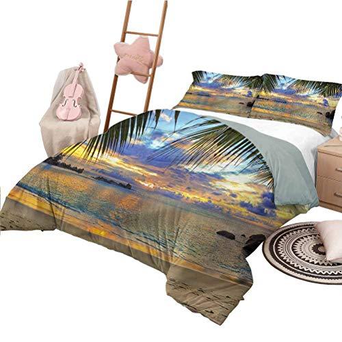 Nomorer Quilt Bedding Set Full Size Coastal Bedding Bag Tranquil Sunset Ocean View