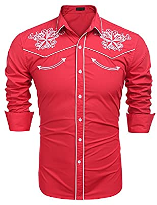 Gotchicon Mens Long Sleeve Shirt Embroidery Slim Fit Casual Button Down Shirt