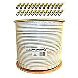 PremiumX Basic 500 m Koaxial Kabel 135 dB 4-Fach geschirmt Kupfer-Stahl CCS Koax Sat Antennenkabel RG-6 CE ROHS Class A 500m mit 24x F-Stecker vergoldet mit Dichtring GRATIS dazu