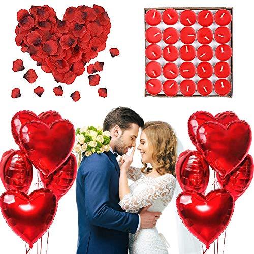 ASANMU Romantische Deko Set, 50 Teelichter Runde, 1000 Rosenblätter Rosen, 10 Rote Herzförmige Folienballons Dekoration für Romantische Hochzeit, Party, Valentinstag, Geburtstag Brautdusche Dekoration