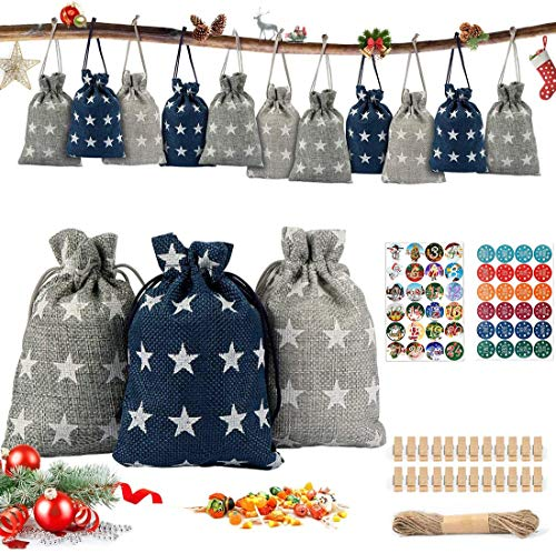 Adventskalender zum Befüllen, Danolt Jutesäckchen Adventskalender 2020 mit 2 Weihnachten Aufkleber, Holzclip, 10m Schnur, DIY Stoffbeutel Weihnachtskalender Tüten für Verzieren Weihnachts-Geschenktüte