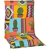 Beo Gartenstuhlauflage Niedriglehner Waschbar Turin | Made in EU Premium-Qualität | UV-beständige Niedriglehner Auflagen | Atmungsaktive Stuhlauflage Niedriglehner mit Mexiko-Muster in Gelb