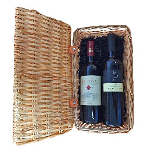 Gourmetkorb Italienische Rotweine mit 1x Santa Cristina Antinori Merlot und 1x Negroamaro Intrigo in schönem Weiden-Geschenkkorb