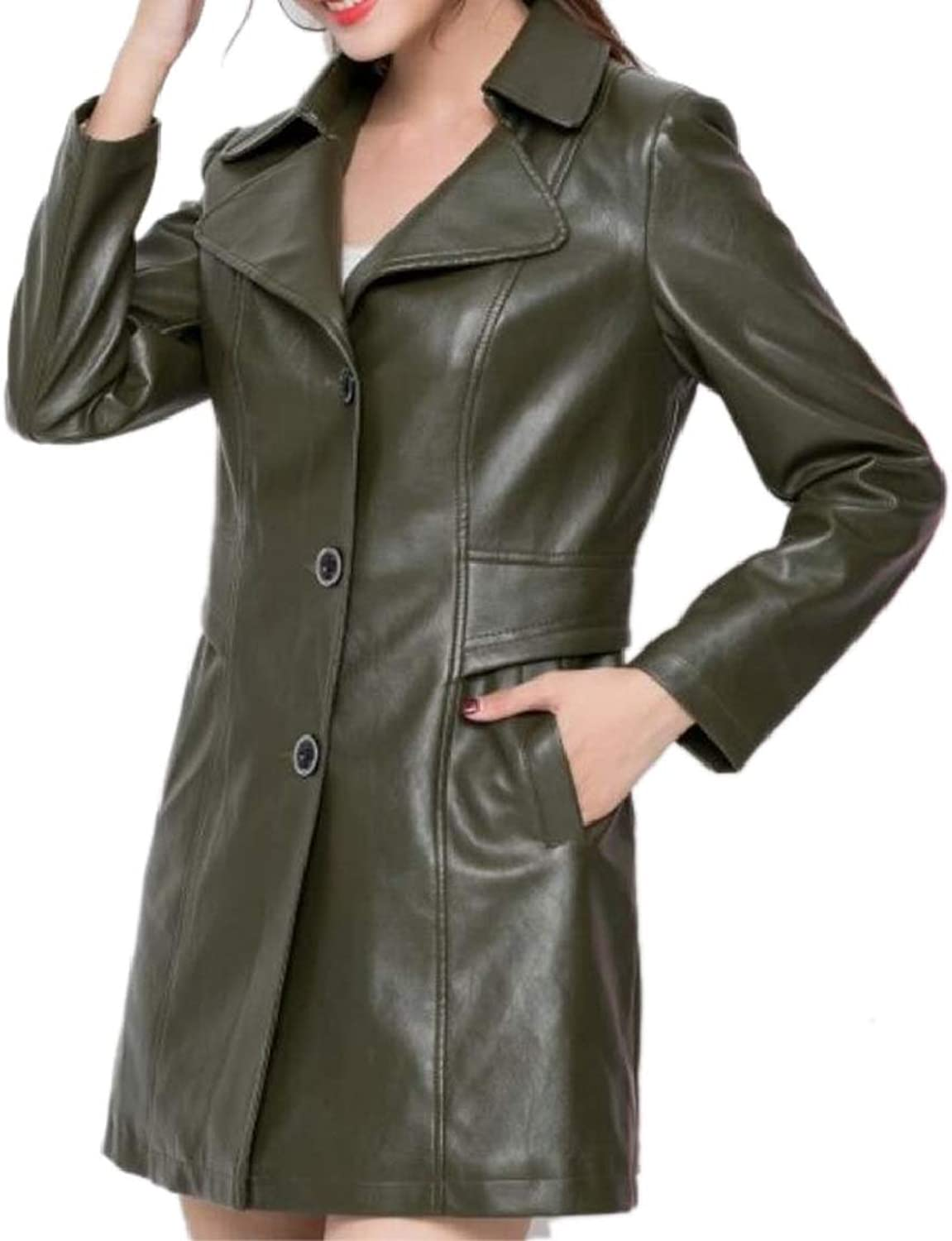 QDCACA Womens Pu Leather Solid Single Breasted Mid Length Trench Coat Outerwear