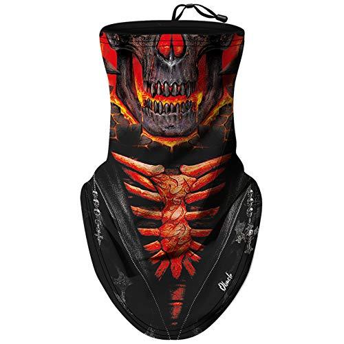 Obacle Neck Gaiter Face Mask Bandana Face Mask with Adjustable Drawstring for Men Women (Skull Fire Face Red)