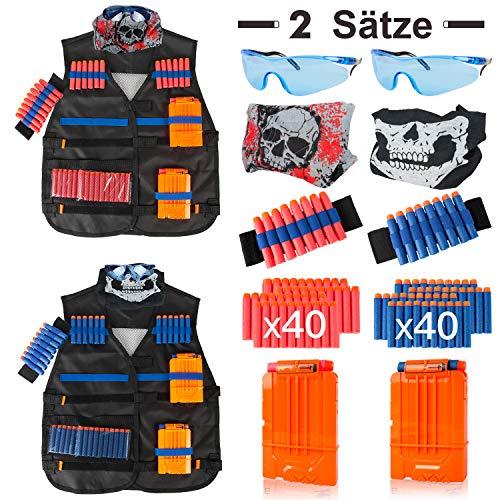 LVHERO 2 Sätze Kinder Taktisch Vest Battle Weste Kit für Nerf Guns N-Strike Elite Serie,2 Stück Battle Weste mit 2 Armbänder, 2 Clip-Magazinen, 2 Schutzbrillen, 2 Schädelmaske, 80 Pfeiles
