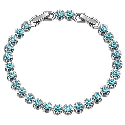 Susan Y regalo festa della mamma tennis braccialetti donna cristalli da swarovski originali idee regalo natale bracciale idee regalo donna regali natale donna idee regalo(Turchese chiaro)