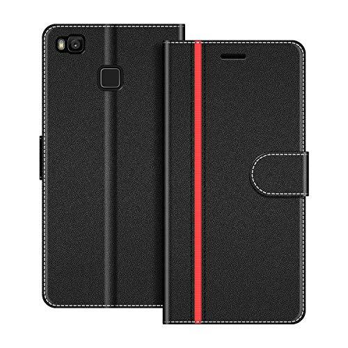 COODIO Handyhülle für Huawei P9 Lite Handy Hülle, Huawei P9 Lite Hülle Leder Handytasche für Huawei P9 Lite Klapphülle Tasche, Schwarz/Rot