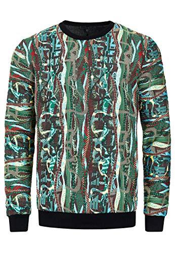 Herren Streetwear 90er Sweater New York Hoody Regular Fit Sweatshirt Rundhals Sweat 132, Farbe:Grün, Größe S-3XL:XL