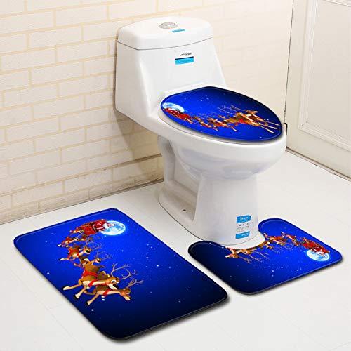 WHDJ 3 Pieces Bathroom Rugs Set,Includes U-Shaped Contour Toilet Mat,45 X 75cm,50 X 80cm Bath Mat and Shaggy Toilet Lid Cover,No-Slip Washable Bath Rugs for Bathroom,Tub,Shower