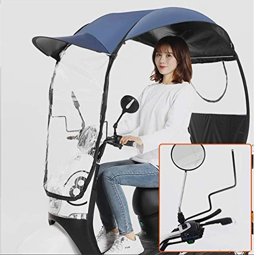 Electric Motorcycle Semi-Closed Umbrella Canopy Awning,Universal Motor Scooter Umbrella Mobility Sun Shade Rain Cover, UV Resistant Protection,T3,B