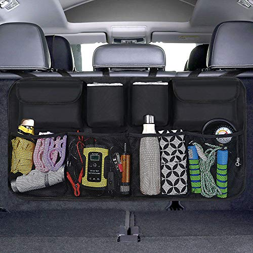 URAQT Car Boot Organiser Waterproof Kick Mats Car Organiser Seat Back Protectors, Multi-Pocket Children's Travel Storage, Durable Foldable Cargo Net Storage for Car Backseat Cover (Standard)