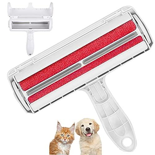 Cslada Quitapelusas para Mascotas, Cepillo para Pelusas, Rodillo Reutilizable para Eliminar el Pelo de Perro o Gato, sofás, Ropa, alfombras, Cojines, Camas, Coches, etc. (Rojo)