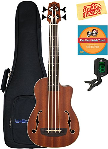 Kala U-Bass-JYMN-FS Journeyman Acoustic-Electric U-Bass Ukulele Bundle with Gig Bag, Tuner, Austin Bazaar Instructional DVD, and Polishing Cloth
