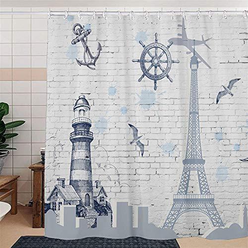 Duschvorhangs Eiffelturm Duschvorhang Extra Breit 100prozent Polyester Wasserdicht Antibakteriell Waschbar Beschwertem Saum Mit 12 Duschvorhangringen 180 X 180 cm