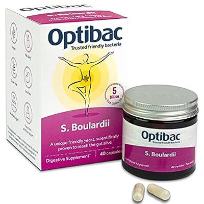 Optibac Saccharomyces Boulardii   Digestive Natural Supplement   5 Billion   40 Capsules