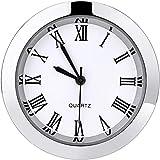 7 1 2 clock insert - 1-1/2 Inch (37 mm) Round Quartz Clock Insert with Roman Numerals Fit 35 mm Diameter Hole (Silver Bezel)