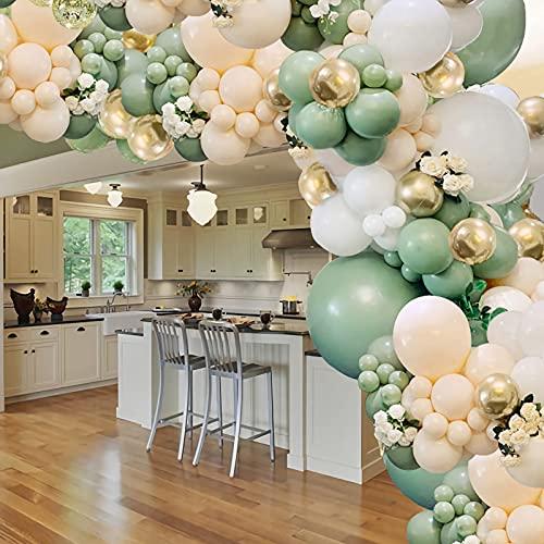 UNIVERTEN Kit Arche Ballons Anniversaire, Arche Ballon Mariage, Ballon Vert et Or, Adapté pour Anniversaire, Mariage, Baptême Garco ou fille, Fête Prénatale, Naissance Décoration de Fête(102 PCS)