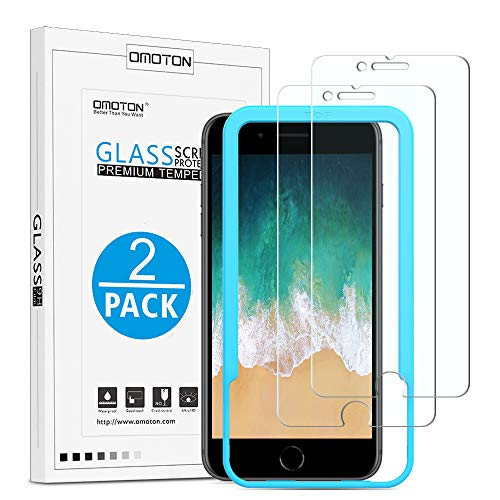 OMOTON [2 Unidades] iPhone 8/iPhone 7 Protector de Pantalla [4.7 Pulgadas] 2.5D Borde,Dureza 9H,Anti - Huellas,Anti - Burbujas