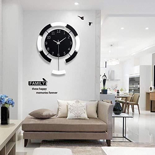 NICEAPR Reloj de Pared Reloj de Pared Personalidad Reloj Simple Reloj de Pared Sala de Estar Reloj de Madera Creativo decoración del hogar Reloj de Cuarzo