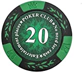 25PCS/Lot Clay Poker Chips Poker Playing Chips Crown Wheat Poker Club Film Chips Coins Baccarat Texas Hold'em Double Color Crown 14g/pc (Color : 2000 yuan face value)