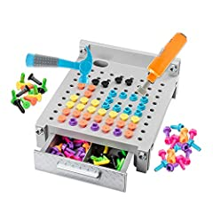 REAL WORKING DRILL TOY AND WORKBENCH: Little builders get busy with a workbench and tool set designed just for them! Hammer nails and drill bolts directly into the bench to create colorful patterns INTRODUCE STEM LEARNING: Introduce STEM and early ma...