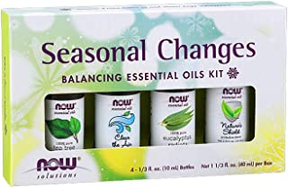 Now Essential Oils, Seasonal Changes Balancing Aromatherapy Kit, 4x10ml Including Tea Tree, Eucalyptus Radiata, Clear The Air and Nature's Shield Oil Blend