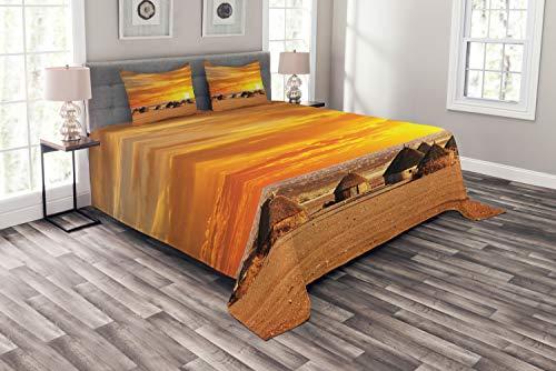 ABAKUHAUS afrikanisch Tagesdecke Set, afrikanische Landschaft, Set mit Kissenbezügen farbfester Digitaldruck, für Doppelbetten 264 x 220 cm, Orange