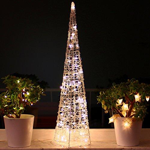 Weihnachtspyramide 90cm LED Pyramide Warmweiß Leuchtpyramide Weihnachten Lichtkegel groß (90cm)