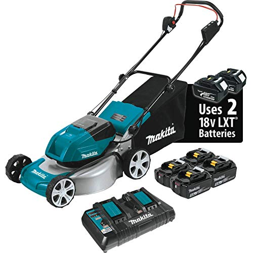 "Makita XML03PT1 18V X2 (36V) LXT Lithium‑Ion Brushless Cordless (5.0Ah) 18"" Lawn Mower Kit with 4 Batteries, Teal"
