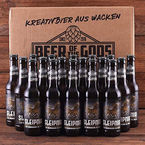 WACKEN BRAUEREI Helles Craft Beer Box 20 x 0,33 l Flasche | SLEIPNIR | Viking Craftbeer Set Gift for Men | Wikinger Kraft Bier Geschenk für Männer | Party Festival Heavy Metal