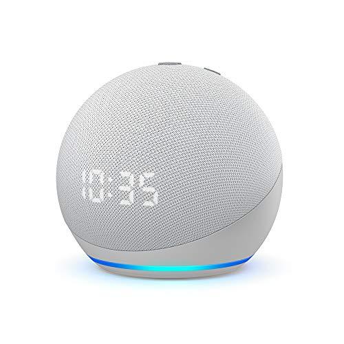 Echo Dot (4.ª generación) | Altavoz inteligente con reloj y Alexa | Blanco
