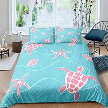 Feelyou Sea Turtle Comforter Cover Set for Kids Reptile Tortoise Sealife Wave Ocean Theme Bedding Set,Blue Pink Duvet Cover Boys Girls Teens Bedspread Nautical Themed 3 Pcs,Full Size Soft