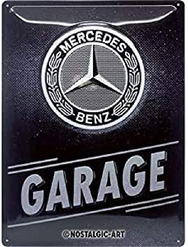 Nostalgic-Art Retro Blechschild Mercedes-Benz – Garage – Geschenk-Idee für Auto Accessoires Fans, aus Metall, Vintage-Dekoration, 30 x 40 cm