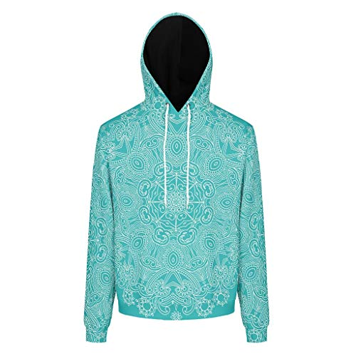 Lind88 Heren Sweatshirts Mannen & Vrouwen LightSeaGreen Mandala Patronen Vintage - Textuur Ronde hals Outdoor Training Jacket