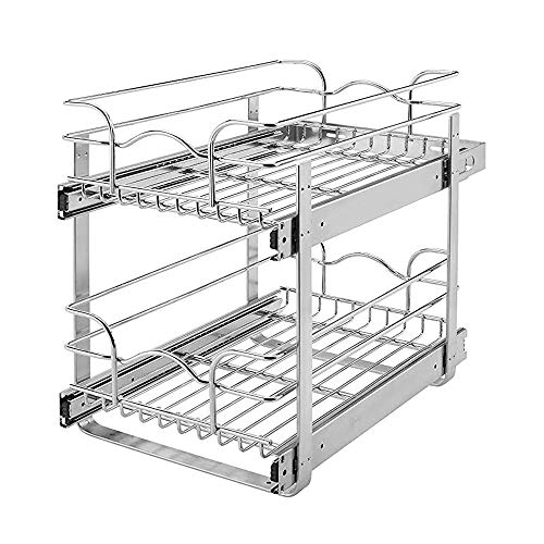 Rev-A-Shelf 5WB2-1822-CR 18 x 22 Inch Two-Tier Kitchen Organization Cabinet Pull Out Storage Wire Basket, Chrome