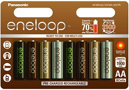 Panasonic Eneloop Bk-3Mcce/8Ue Ready-To-Use Ni-MH Batteria Aa 8Er Pack Earth