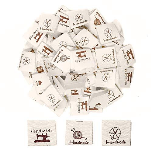 Nsiwem Etiquetas de Tela Etiquetas Handmade with Love Etiquetas Hechas a Mano Etiquetas para Ropa Personalizadas para Costura DIY Decoraciones 150 Piezas