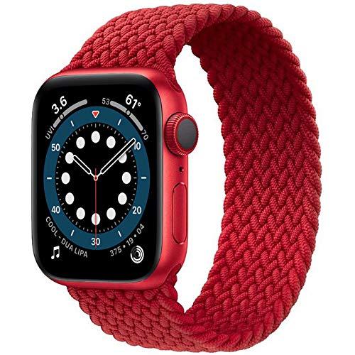 JONWIN Solo Loop Intrecciato Compatibile con Cinturino Apple Watch 42 44mm,di Ricambio Sportivo in Fibra di Silicone Intrecciato Elastico per Nylon Cinturino per iWatch Serie 6/5/4/3,SE,Red,7#
