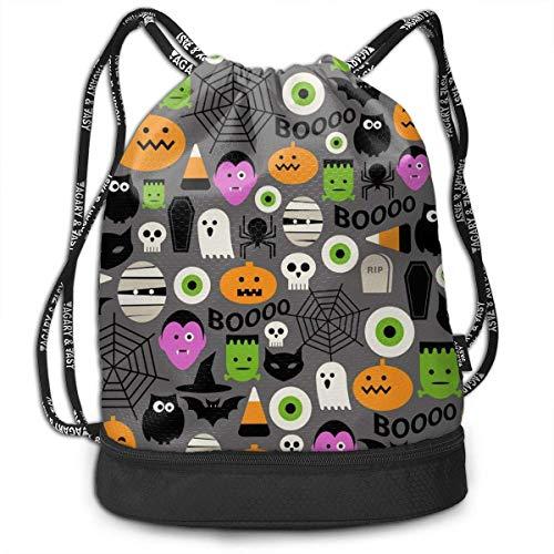 Rucksäcke,Sporttaschen,Turnbeutel,Daypacks, Cute Halloween Icon Pattern Vector Image Multifunctional Beam Drawstring Backpack Unisex Suitable for Outdoor Travel