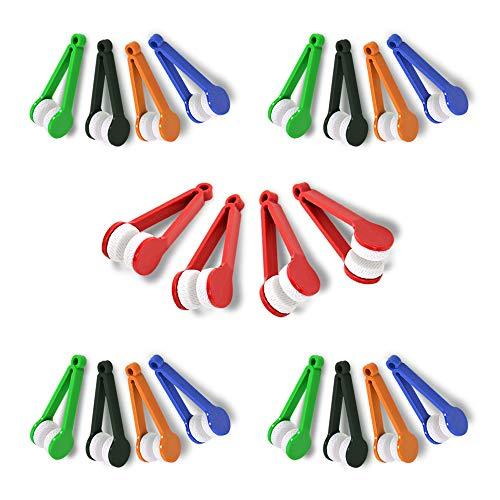 JUMINE 20 Pack Mini Brillen Sonnenbrillen Spektakel-Reiniger, kleine Mikrofaser-Reinigungsclip-Bürstenwischer-Abwischen-Kit