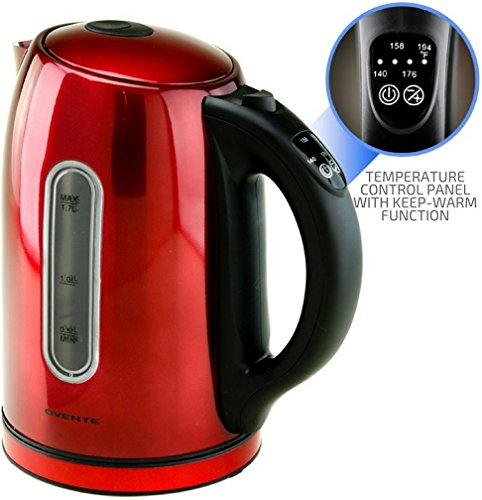 Ovente Electric Kettle 1.7 Liter Water Boiler & Tea Heater with 5 Preset Settings, 1100 Watts Fast Heating Element, Keep Warm Function Perfect for Tea, Coffee, Hot Beverages and More, Red (KS89R)