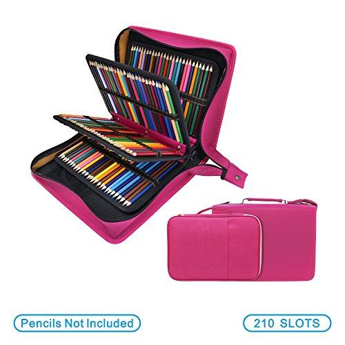 Beige Astuccio per matite per penne ad alta capacit/à 52 scomparti Astuccio per matite colorato Pratici portamatite per pennarelli o pennarelli