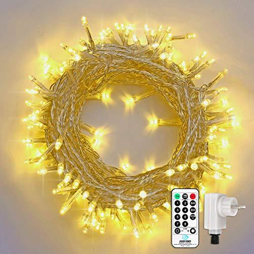 Qedertek Catena Luminosa, Cavo trasparente, Luci Stringa 23 Metri 200 LED, Addobbi Natalizi per Albero di Natale, Luce Natalizie per Decorazione Interno (Bianca Calda)