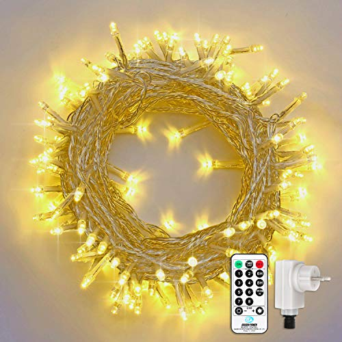 Qedertek 200 LED Lichterkette in Warmweiß, 23M Lichterkette Steckdose für Innen und Außen, 8 Modi und Timer Funktion und Merk-Funktion Dimmbar mit Fernbedienung, Doke Weihnachtsbaum, Partys, Hochzeit